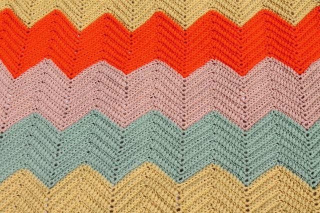 vintage crochet afghan, chevron ripple stripes in retro fall harvest colors
