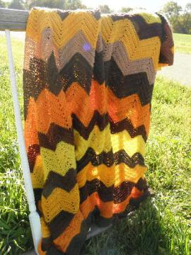 vintage crochet afghan in fall colors, gold, brown, orange chevrons