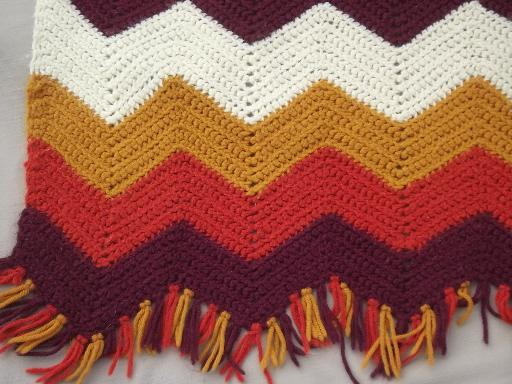 vintage crochet afghan lot, a whole stack of afghans in retro fall colors