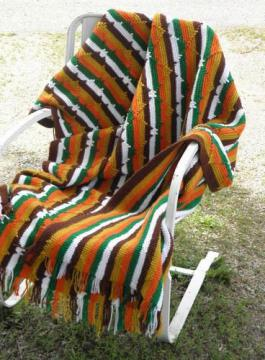 vintage crochet afghan or rug, Indian blanket stripes in retro colors