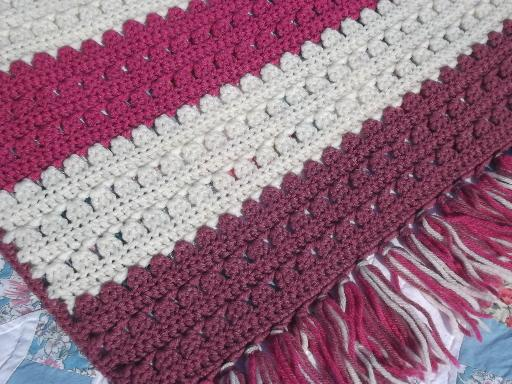 vintage crochet afghan, retro raspberry, cream & rose pink stripes
