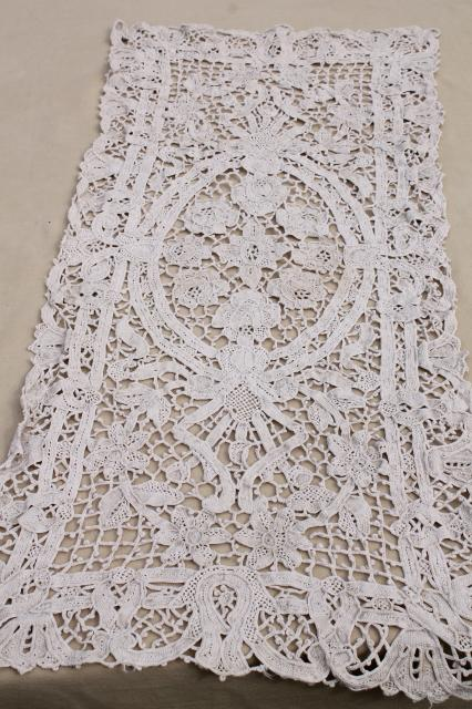 vintage crochet and lace table runners / dresser scarves, shabby cottage granny chic