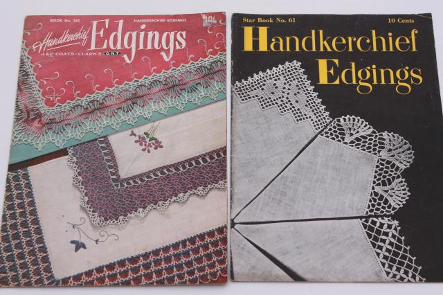 vintage crochet booklets lot - patterns for pot holders, doilies, crocheted lace edgings and more