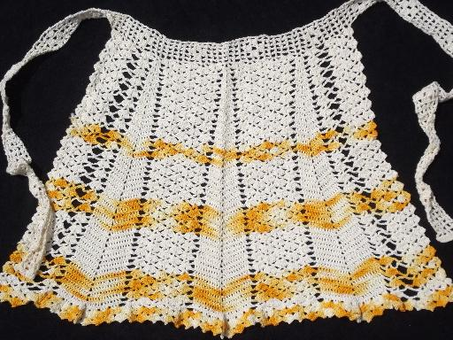 vintage crochet cotton kitchen aprons, colored thread and white lace