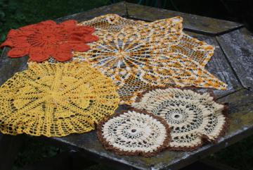 vintage crochet doilies, handmade crocheted lace table covers in fall autumn colors