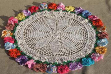 vintage crochet doily, crocheted flowers lace doily w/ pansies edging in colored cotton thread