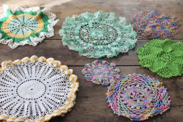 vintage crochet doily lot, doilies in bright & pastel colors for spring