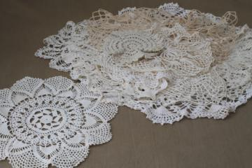 vintage crochet doily lot of 12 old handmade doilies, crocheted cotton thread lace