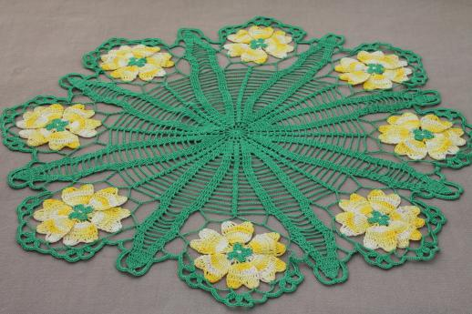 vintage crochet flower doily, green & yellow flowers cotton thread lace doily