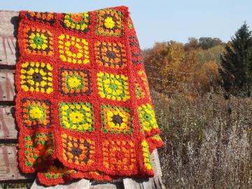 vintage crochet granny square afghan, soft and cozy autumn harvest colors
