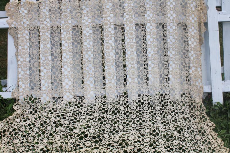 vintage crochet lace bedspread, lacy cobweb pattern bed cover made for a headboard double bed
