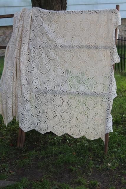 vintage crochet lace bedspread or throw, hexies motifs heavy ivory cotton