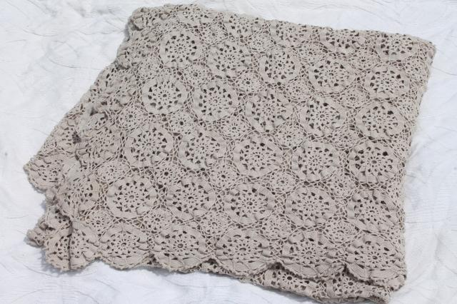 vintage crochet lace bedspread, queen bed cover handmade in cotton thread crocheted lace