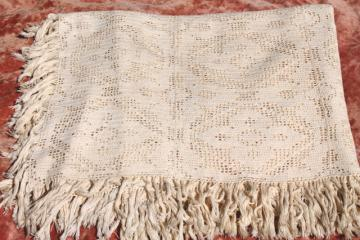 vintage crochet lace bedspread, queen size handmade crocheted cotton coverlet w/ fringe