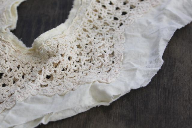 vintage crochet lace camisole & night gown collars, antique trousseau whites