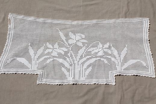 vintage crochet lace curtain valance panels w/ daffodils, cottage ...