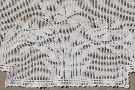 vintage crochet lace curtain valance panels w/ daffodils, cottage style lace curtains