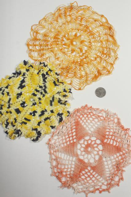 vintage crochet lace doilies pretty colored thread, crocheted flowers doily lot