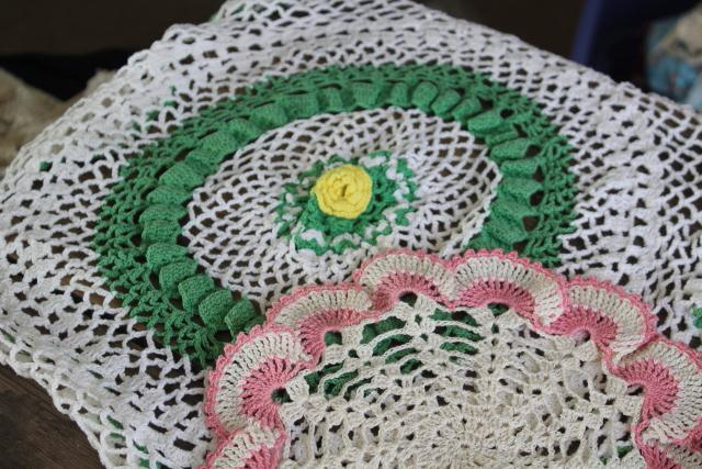 vintage crochet lace doily lot in pretty colored thread, flower doilies and table mats