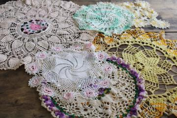 Round Doily HAND CROCHETED DOILIES Vintage 1950s Doily Pink and White Doily Lot of Two