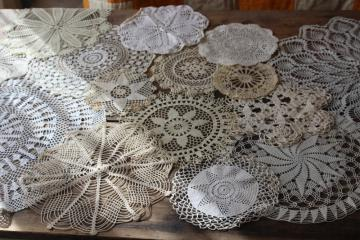 vintage crochet lace doily lot, lace doilies for project crafts upcycled decor