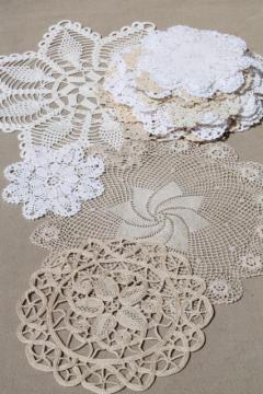 vintage crochet lace doily lot - small doilies, coasters, goblet rounds