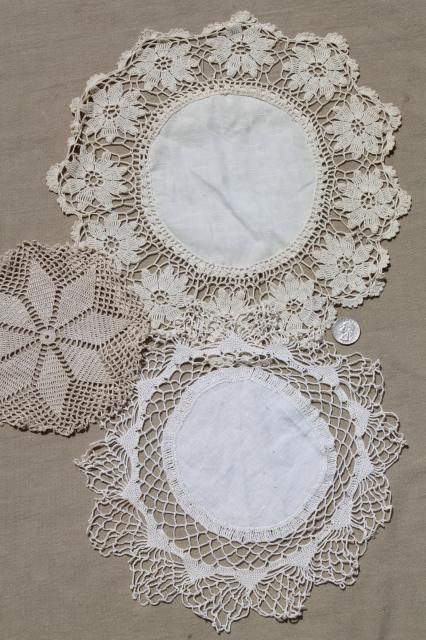 Vintage Crochet Lace Doily Lot Small Doilies Coasters