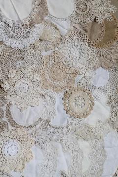 vintage crochet lace doily lot - small doilies, coasters, goblet rounds place mats
