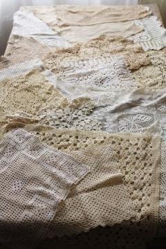 vintage crochet lace doily lot, square & rectangular table mats, doilies