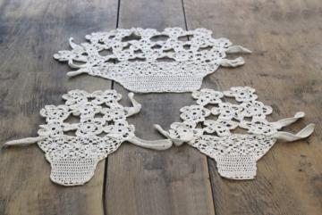 vintage crochet lace flower basket pattern, three piece chair set, cottage chic