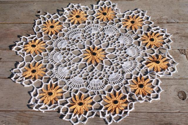 Vintage Crochet Lace Flower Doily Large Table Topper W Lacy Black