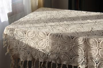 vintage crochet lace fringed table cover or throw, creamy ivory cotton lace tablecloth