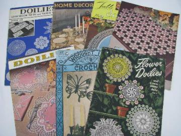 vintage crochet lace pattern booklets, flower doilies, motifs etc.