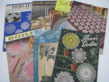 vintage crochet lace pattern booklets, flower doilies, motifs etc.