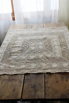 vintage crochet lace small square tablecloth, large doily mat or topper