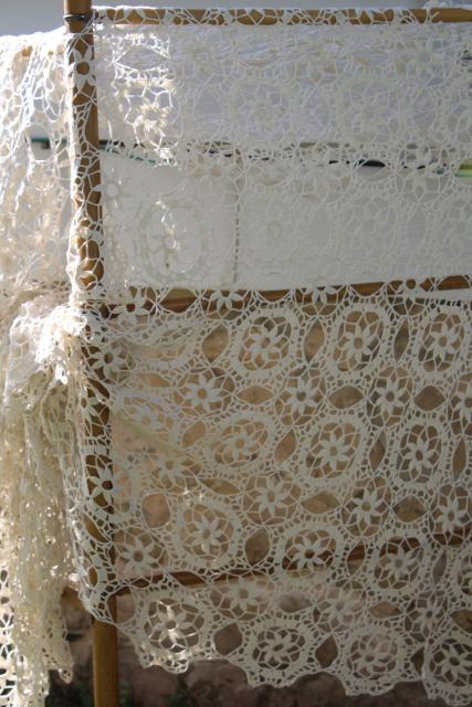 vintage crochet lace tablecloth, cobwebs lace square table cover or bedspread