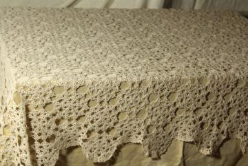 vintage crochet lace tablecloth, shabby chic lacy spider web round doily motifs