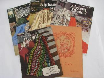 vintage crochet pattern booklets lot, crocheted afghans, throws, lap blankets