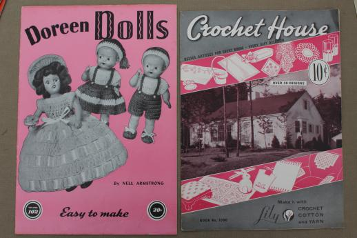 Vintage Crochet Pattern Booklets Lot Doll Clothes Pot Holders