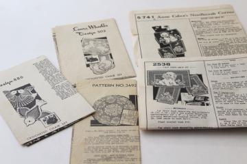 vintage crochet pattern leaflets, filet lace chair sets w/ puppies, kittens & birds