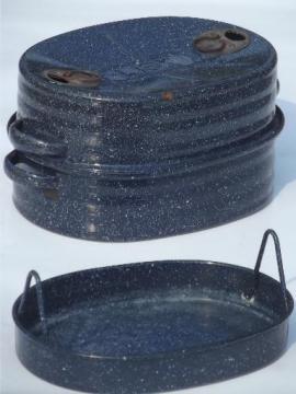 blue & white speckled  graniteware  roaster, vintage Lisk chicken roasting pan