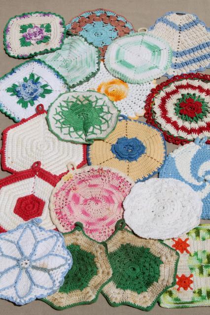 Vintage Crochet Potholders Lot Of Kitchen Pot Holders Hot Mats