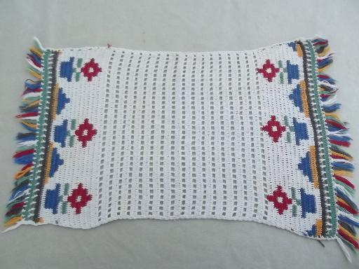 Vintage Crochet Table Mats Flower Pots Placemats Set For Retro Kitchen
