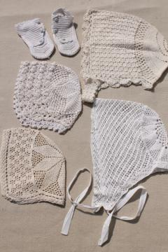 vintage crochet tatted lace infant bonnets & booties, antique whites baby clothes
