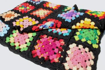vintage crochet wool afghan blanket, black w/ bright colors granny squares