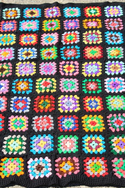 Vintage Crochet Wool Afghan Blanket Black W Bright