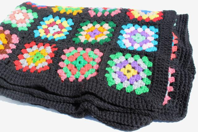 Vintage Crochet Wool Afghan Blanket Black W Bright