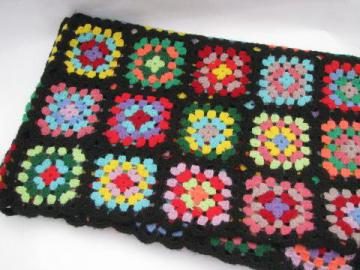 vintage crochet wool granny square afghan, black w/ bright colors
