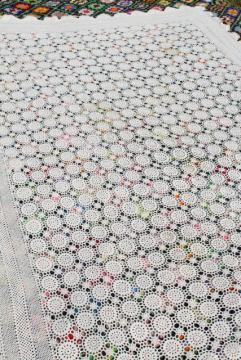 vintage crocheted cotton lace bedspread, crochet flower motifs ,shabby chic cottage style