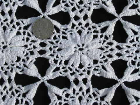Vintage Crocheted Cotton Lace Tablecloth, Square Table Cover, Star Flower  Crochet